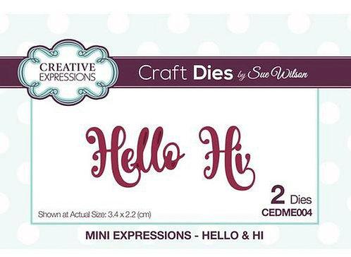 Creative Expressions Craft Die - Hello/Hi