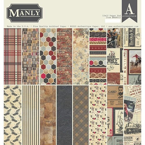 """Authentique - """"Manly""""  12""""x12"""" Paper Collection"""
