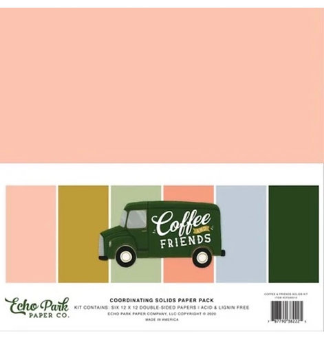 Echo Park - Coffee and Friends coordinating  solids paper pack