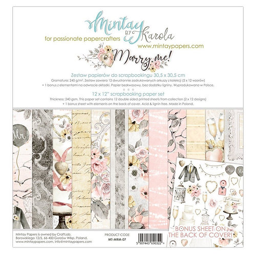 """Mintay Papers - Marry Me 12""""x12"""" Paper Collection"""