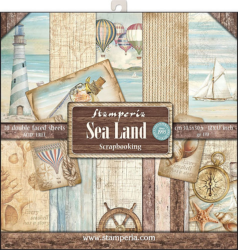 """Stamperia - """"Sea Land"""" 12""""x12"""" Paper Collection"""