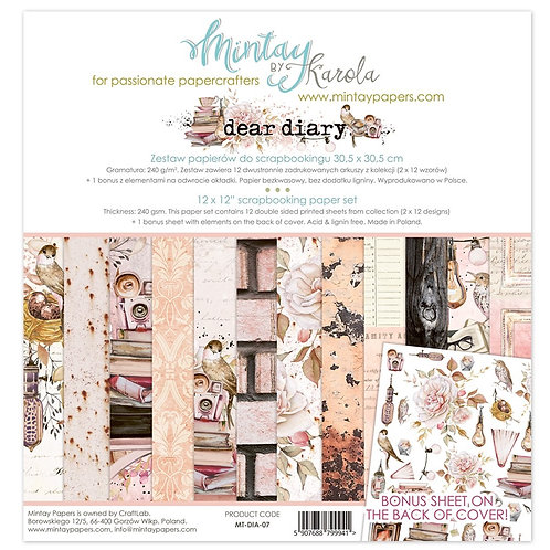 "Mintay Papers - Dear Diary 12""x12"" Paper Collection"