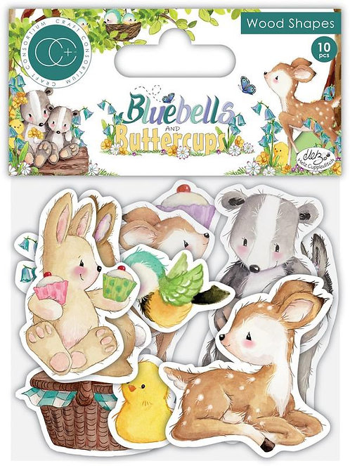 Craft Consortium - Bluebells and Buttercups Wood Shapes