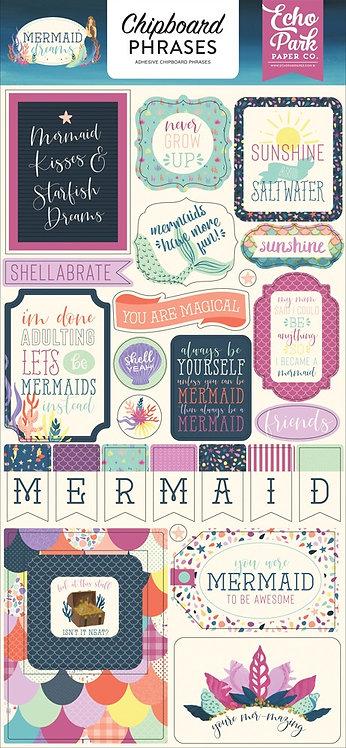 """Echo Park- """"Mermaid Dreams"""" Chipboard Phrases"""