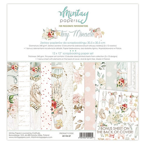 "Mintay Papers - Tiny Miracle 12""x12"" Paper Collection"