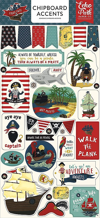"""Echo Park- """"Pirate Tales"""" Chipboard Accents"""