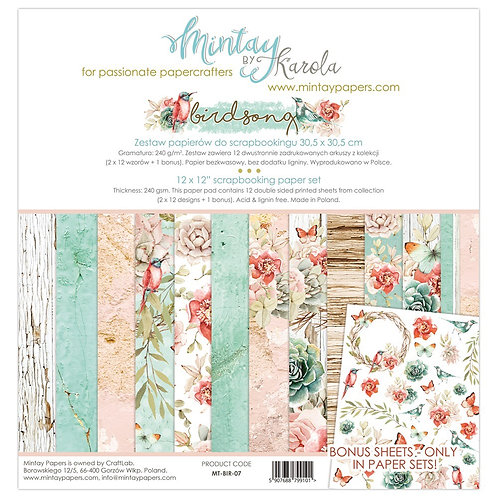 "Mintay Papers - Birdsong 12""x12"" Paper Collection"