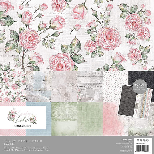 """Kaisercraft- """"Lady Like"""" 12""""x12"""" Paper Collection"""