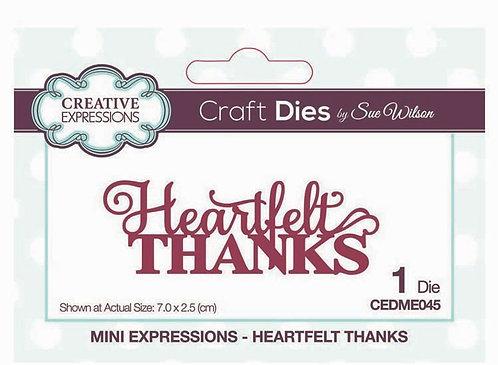 Creative Expressions Craft Die - Heartfelt Thanks