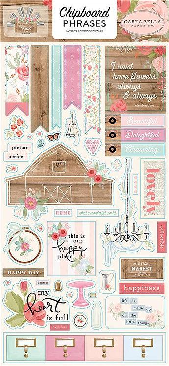 """Carta Bella Paper Co. - """"Farmhouse Market"""" Chipboard Phrases"""