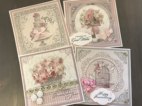"""Bouquet of Good Wishes"" Card Kit -  Set of 4 Cards"