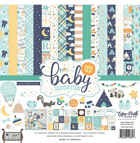 "Echo Park - Hello Baby Boy 12""x12"" Collection kit"