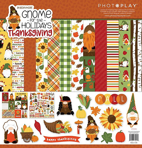 """Photoplay Gnome for the Holidays Thanksgiving 12""""x12""""Collection Pack"""