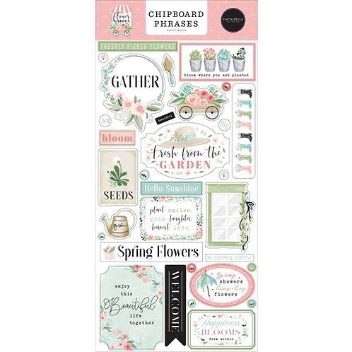Carta Bella - Flower Garden Chipboard Phrases