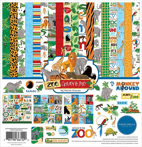 """Carts Bella - Zoo Adventure 12""""x12"""" Collection kit"""