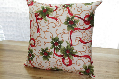 Holly Holiday Throw Pillow Cases