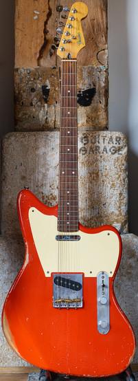 Telemaster Jazzcaster Custom Offset Fiesta Red - Fender Japan 1985 neck Relic
