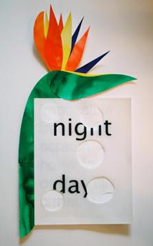 """Annie Buckley, Day Night, 2009, paper collage, 21X10"""""""