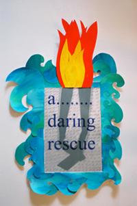 "Annie Buckley, Rescue, 2009, paper collage, 20x14"""