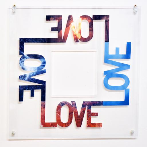 """Annie Buckley, Love Love Love Love, 2015, cut photographs, 20x20"""""""