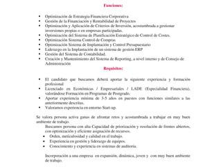 Buscamos DIRECTOR FINANCIERO BARCELONA