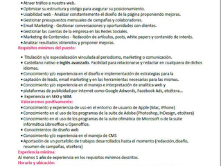 oferta de empleo:Técnico marketing online