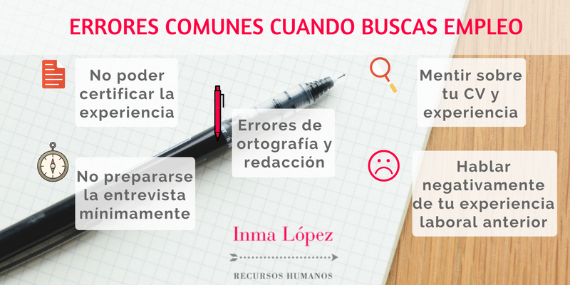 Errores comunes búsqueda de empleo, Inma López Recursos Humanos