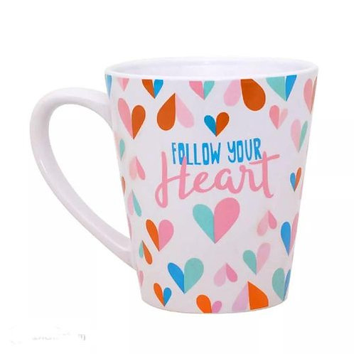 Frente da Caneca Cônica - Follow Your Heart Love - ArteNac