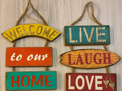 Placa Decorativa de Parede, Madeira 18X28 cm, 2 Modelos - Welcome e Live