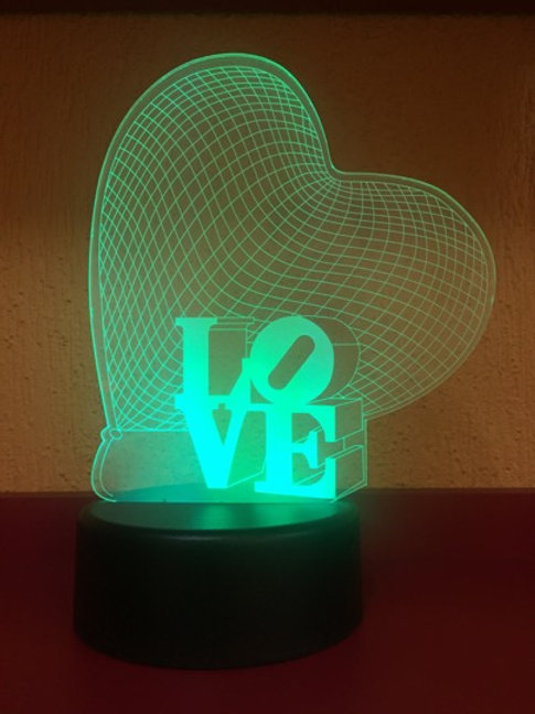 Enfeite Coração Love Acrílico Led Multicor Verde