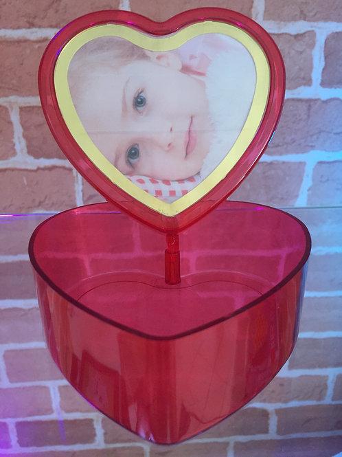 Caixa Porta-retrato - Coração - Vermelho - Acrílico - Frente