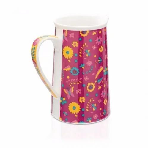 Jarra Mexicana Porcelana Floral Ludi - Lado 1