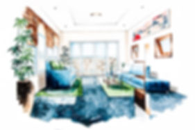Living room design of watercolor paintin