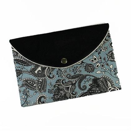 Pochette enveloppe cachemire bleu