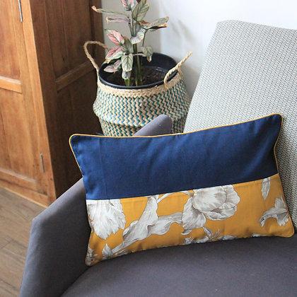 Housse de coussin jaune/bleu (30*50)