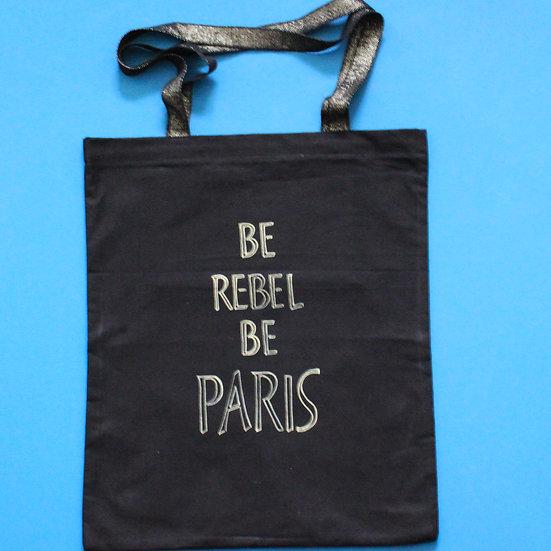 Tote bag noir BeRebelBeParis