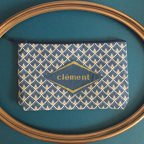 pochette art deco bleu