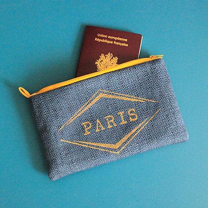 Pochette bleu PARIS