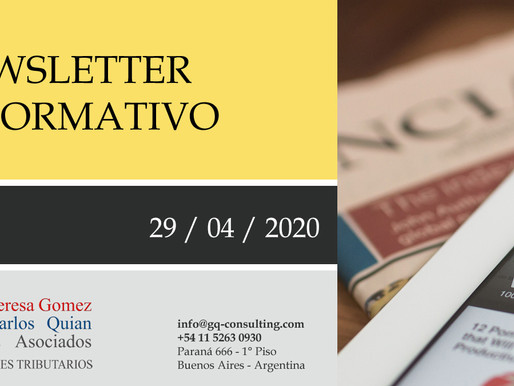 NEWSLETTER - 29/4/2020