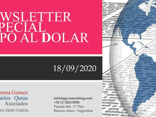 NEWSLETTER ESPECIAL – Cepo al Dólar - Percepción del 35% para compra de billetes y operaciones.