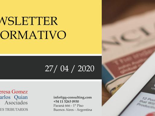 NEWSLETTER - 27/04/2020