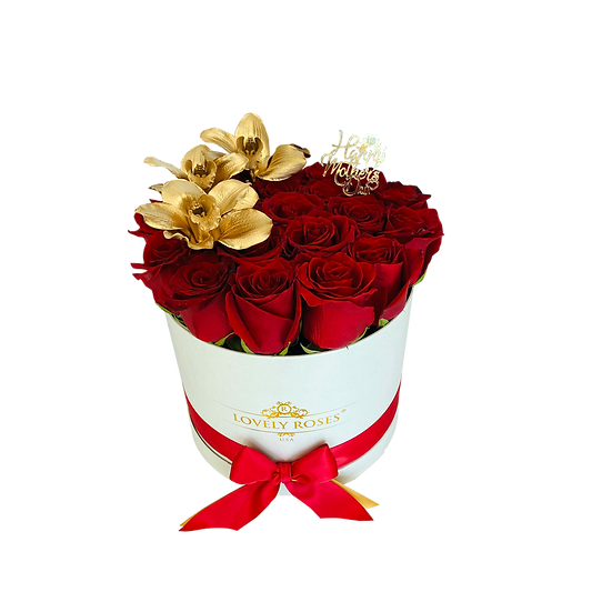 Large Round Natural Red Roses and Golden Orchids / ONLY IN MIAMI
