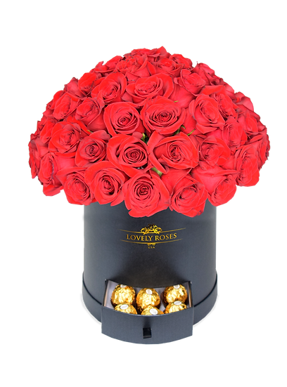 Round Super Deluxe Natural Red Roses/ONLY IN MIAMI