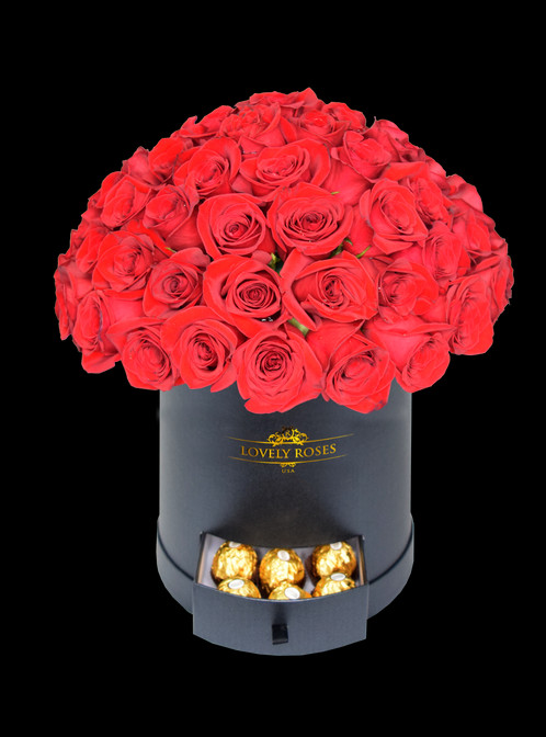 Round Super Deluxe Natural Red Rosesonly In Miami