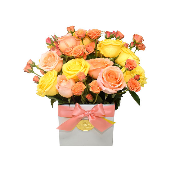 Mother's Day Special Medium Vase Yellow & Peach Natural Roses/ONLY IN MIAMI