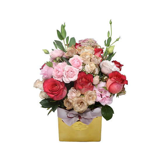 Mother's Day Special Medium Vase Pink and Fuchsia Natural Roses/ONLY IN MIAMI