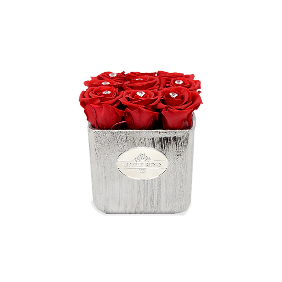 Customized Medium Square Red Preserved Roses