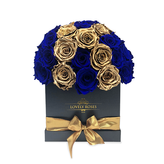 Customized Super Deluxe Royal Blue Preserved Roses (Sample)