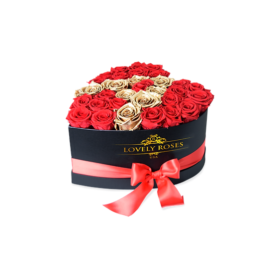 Customized Medium Heart Red Preserved Roses