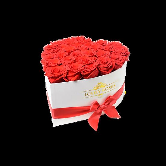 Medium Heart Red Preserved Roses